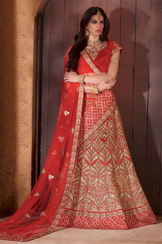 Maroon with gold embroidery lehenga