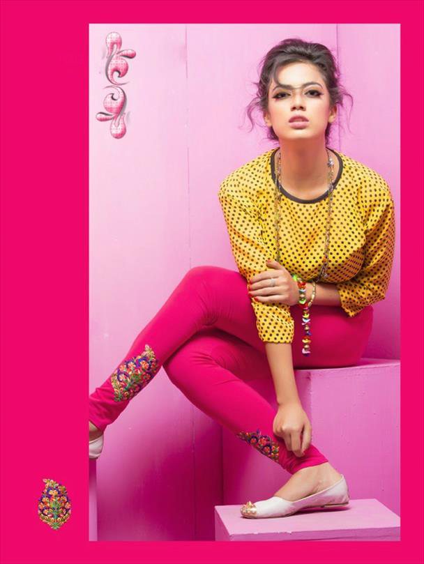 Pink legging with embroidery 1003