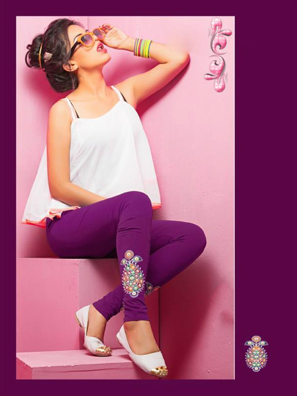 Violet legging with embroidery 1004