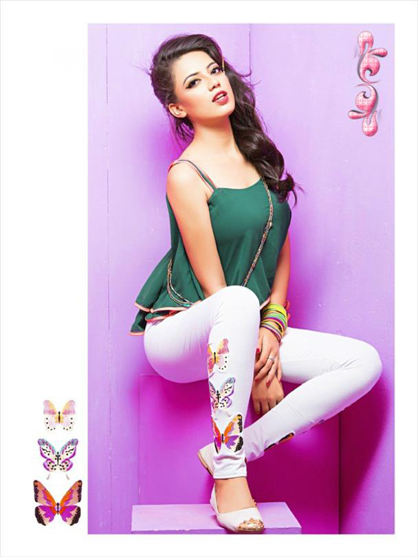White legging with embroidery 1005