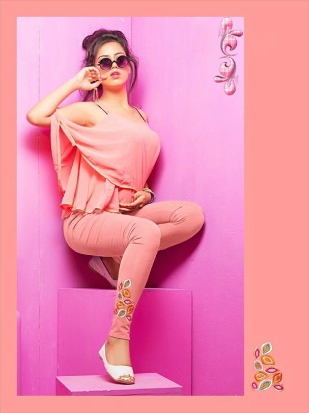Light pink legging with embroidery 1006