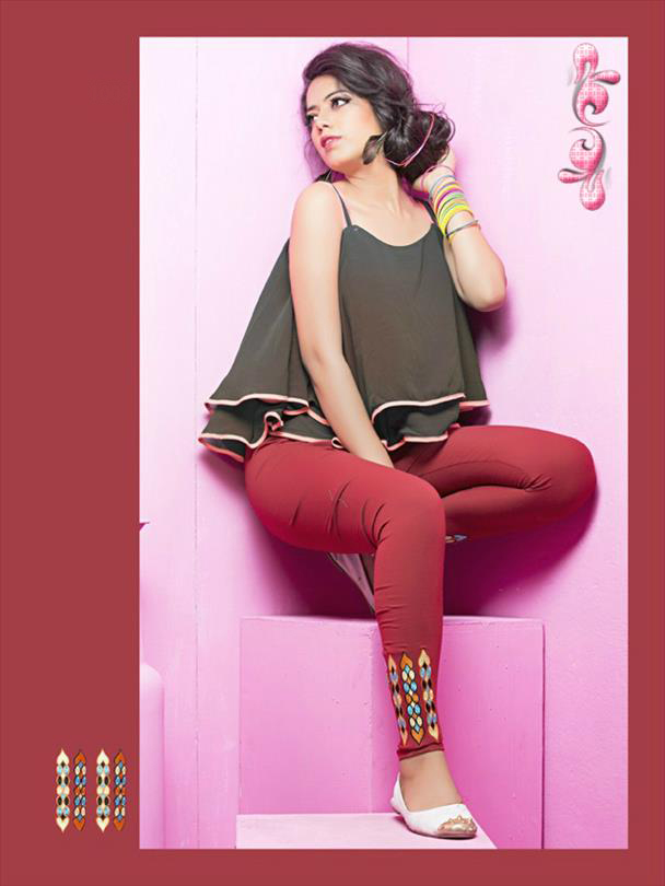 Brown legging with embroidery 1009