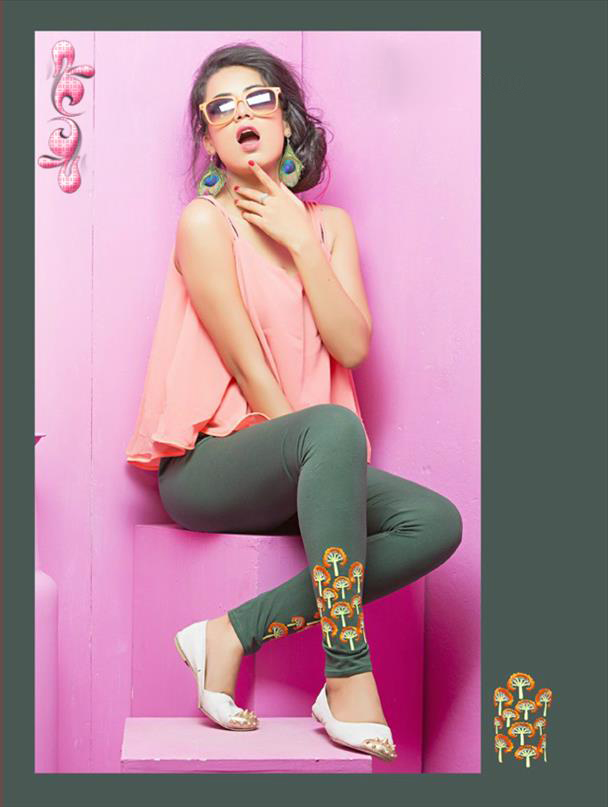 Grey legging with embroidery 1010