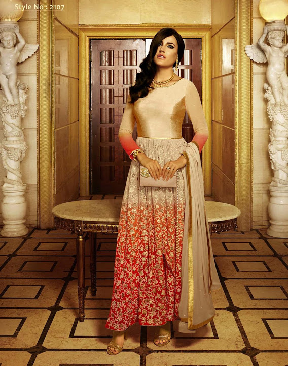 Designer shaded beige and red indo western dress