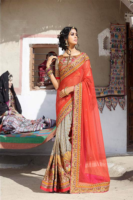 Orange and dusky color saree