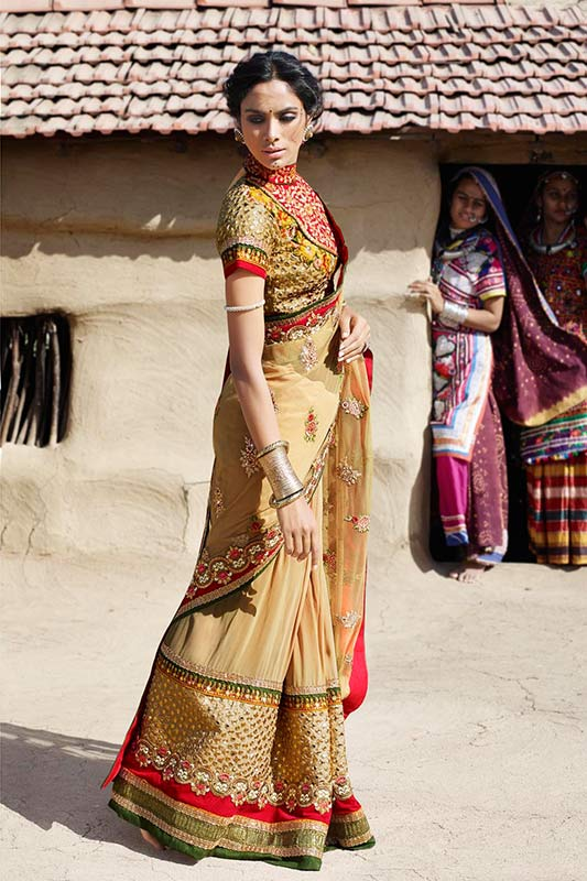 Traditional beige saree