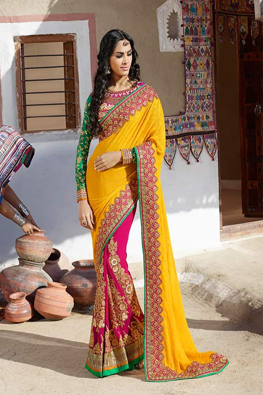 Yellow and pink color saree