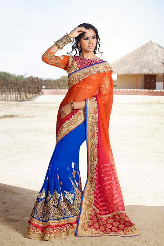 Orange and blue color saree