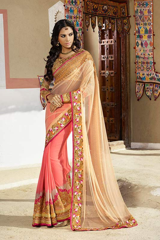 Beige and pink saree