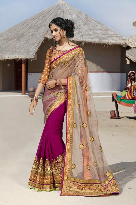 Magenta and dusky color saree