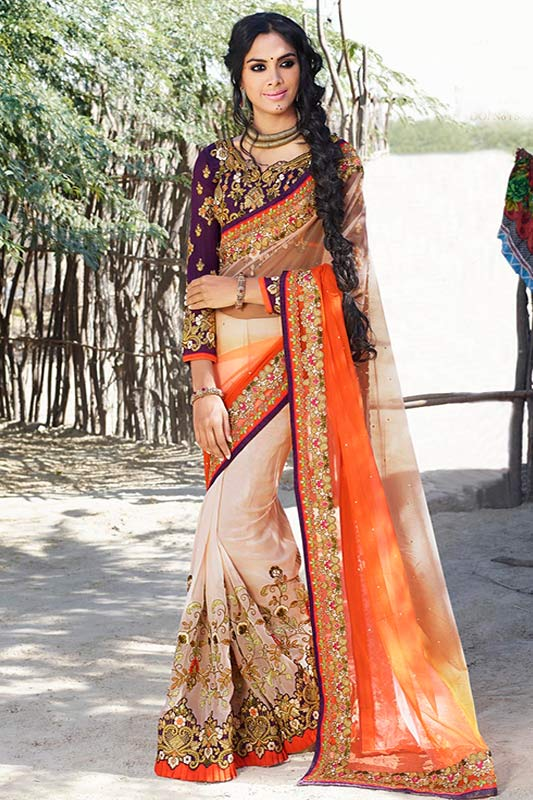 Beige and orange color saree