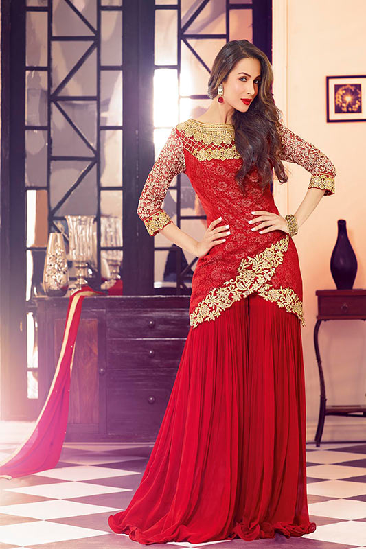 d1775801c9f6 Red indo western dress  NIA VAGLA-3705    Vagha.com