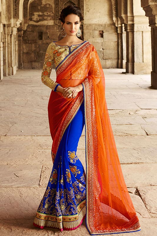 Traditional blue and orange saree