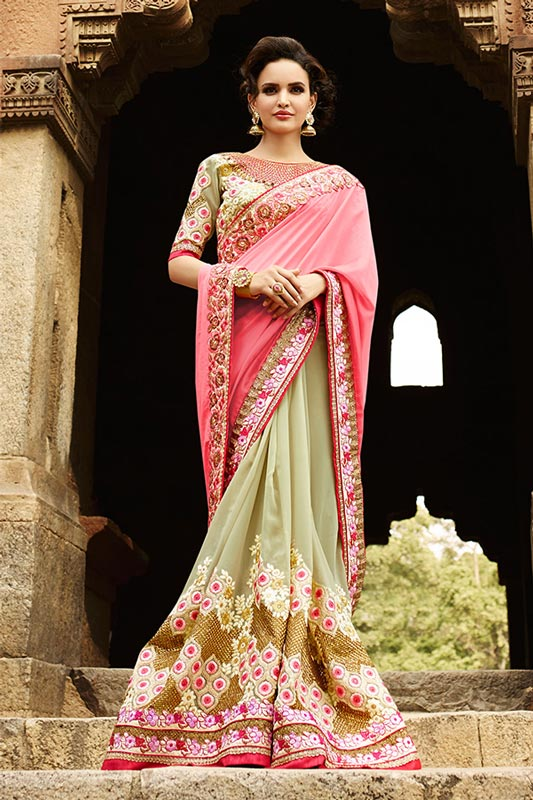 Pretty pink and pista green saree