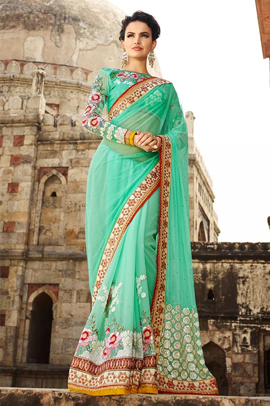 Stunning sea green saree