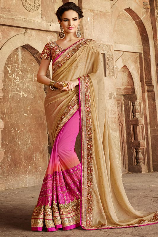 Shaded pink and beige saree