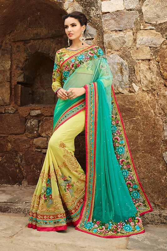Lime yellow and sea green saree