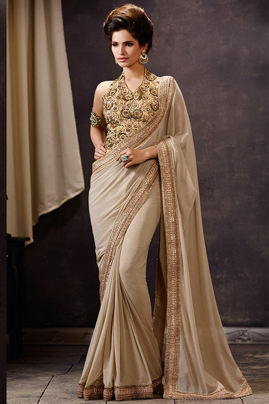 Fawn color saree