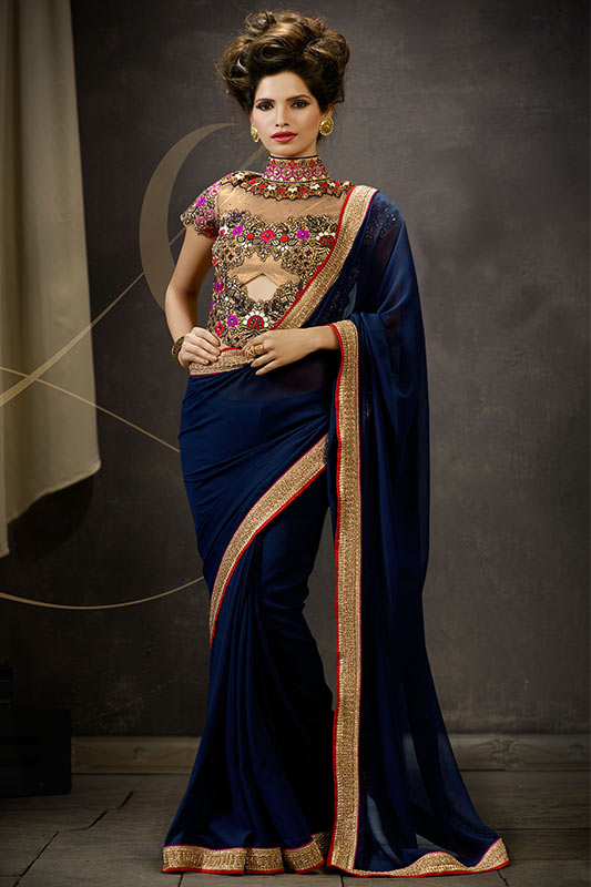 Dark blue saree
