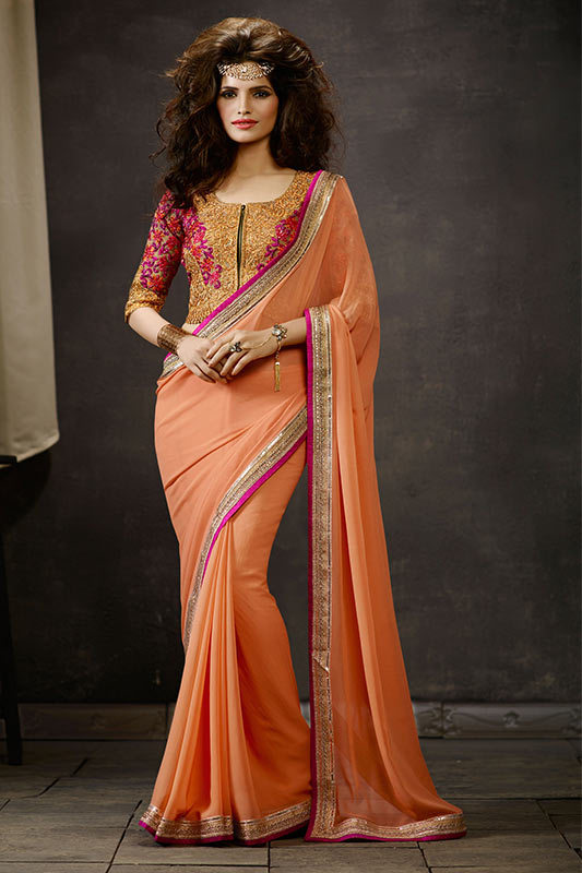 Orange beige saree