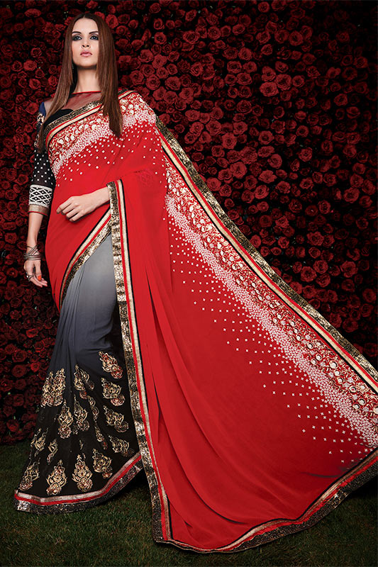 Red black grey saree