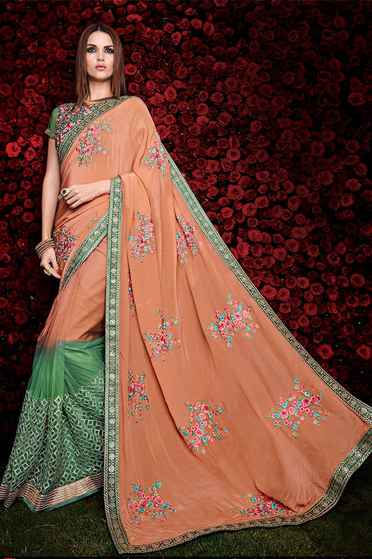 Orange and green saree