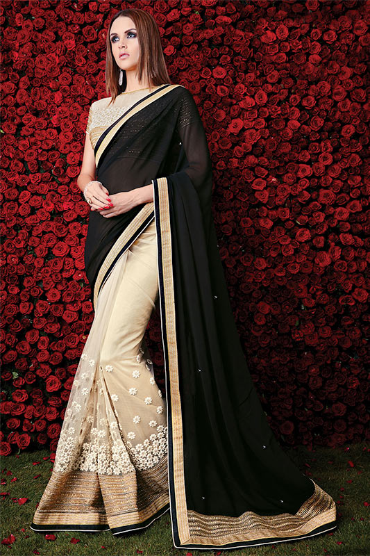 Stylish black and cream saree